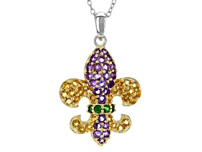 Purple Amethyst Silver And 18k Gold Over Silver Fleur De Lis Pendant With Chain 1.46ctw