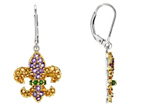 Purple Amethyst Silver And 18k Gold Over Silver Fleur De Lis Earrings 1.67ctw