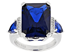 Blue Lab Created Spinel Silver Ring 13.51ctw
