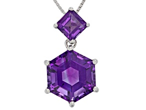 Purple Amethyst Sterling Silver Slide With Chain 7.62CTW