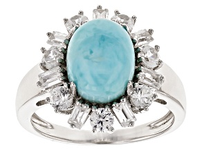 Blue Larimar Sterling Silver Ring 1.80ctw