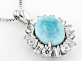 Blue Larimar Silver Pendant With Chain 1.80ctw