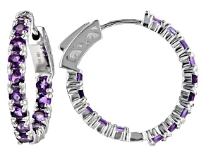 Purple Uruguayan Amethyst Sterling Silver Hoop Earrings 2.38ctw