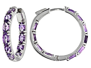 Purple Uruguayan Amethyst Sterling Silver Hoop Earrings 3.74ctw