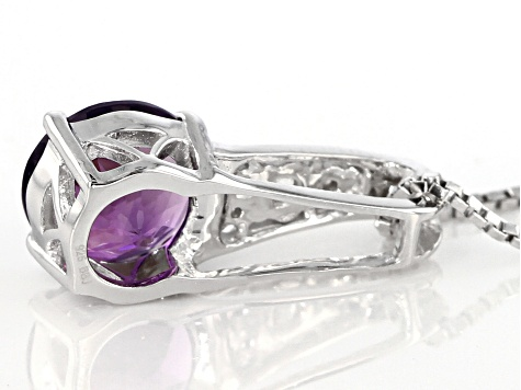 Purple Uruguayan Amethyst Sterling Silver Slide With Chain 1.64ctw