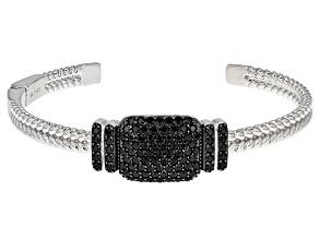 Black Spinel Sterling Silver Cuff Bracelet 4.27ctw