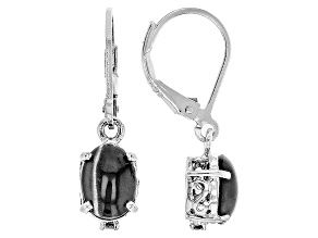Black Sillimanite Sterling Silver Dangle Earrings .04ctw