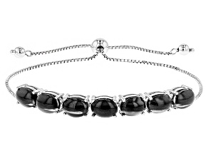Black Cat Eye Sillimanite Sterling Silver Bolo Bracelet