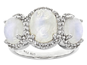 White Rainbow Moonstone Sterling Silver Ring .75ctw