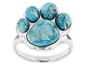 Blue Turquoise Silver Paw Print Ring
