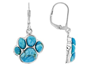 Blue Turquoise Silver Earrings