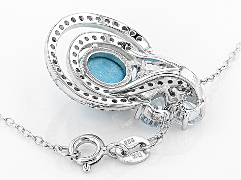 Blue Turquoise Silver Slide With Chain 1.68ctw