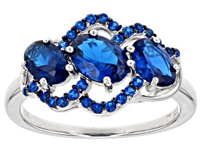 Blue Lab Created Spinel Silver Ring 1.83ctw