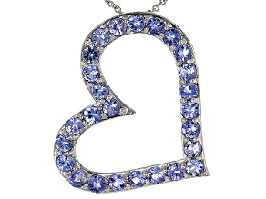 Blue Tanzanite Silver Heart Slide With Chain 2.86ctw