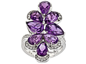 Purple Amethyst Silver Ring 6.80ctw