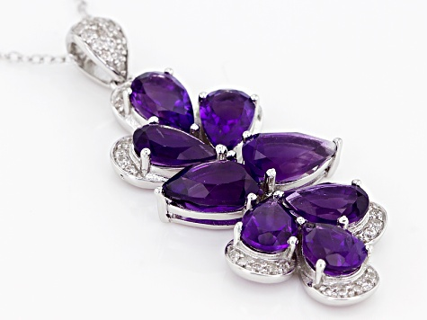 Purple Amethyst Silver Pendant With Chain 6.79ctw