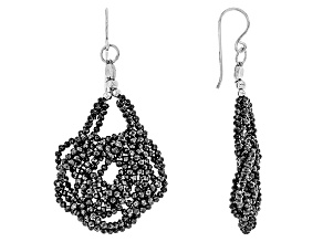 Black Spinel Sterling Silver Earrings 50.00ctw