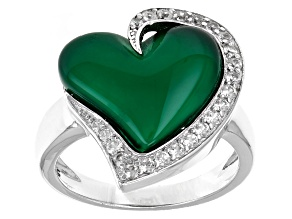 Green Onyx Sterling Silver Ring .36ctw