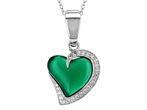 Green Onyx Silver Enhancer With Chain .36ctw