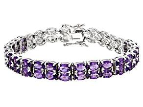 Purple Amethyst Sterling Silver Bracelet 13.26ctw