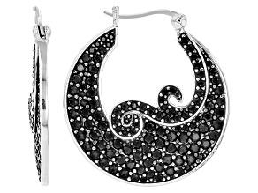 Black Spinel Sterling Silver Earrings 4.53ctw
