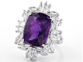 Purple amethyst sterling silver ring 11.07ctw