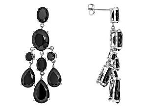 Black Spinel Sterling Silver Earrings 24.97ctw