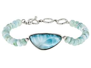 Blue Larimar Sterling Silver Bead Bracelet