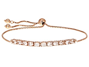 Pink morganite 18k rose gold over silver bolo bracelet 1.35ctw