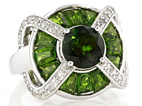 Green Chrome Diopside Silver Ring 4.74ctw
