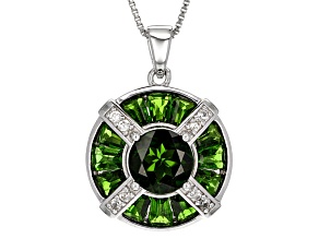Green Chrome Diopside Silver Pendant With Chain 4.76ctw