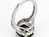 Green Chrome Diopside Rhodium Over Sterling Silver Ring 4.19ctw