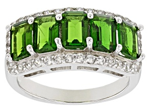 Green Chrome Diopside Silver Ring 3.48ctw