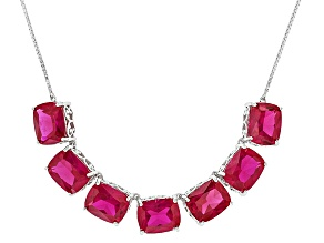 Red Lab Created Ruby Sterling Silver Necklace 26.10ctw