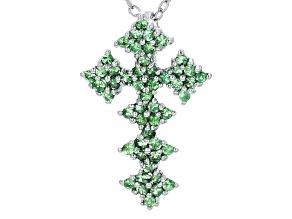 Green Tsavorite Garnet Silver Pendant With Chain .65ctw