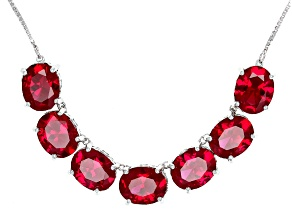 Lab Created Ruby Sterling Silver Necklace 13.98ctw