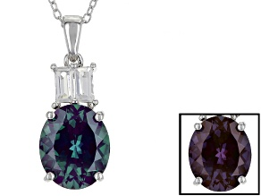 Blue Lab Created Alexandrite Silver Pendant With Chain 5.30ctw