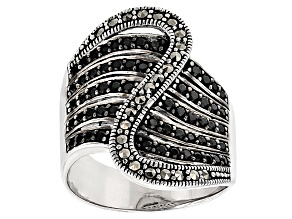 Black Spinel Silver Ring .63ctw