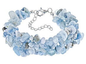 Blue Aquamarine Chip Silver Bracelet Approximately