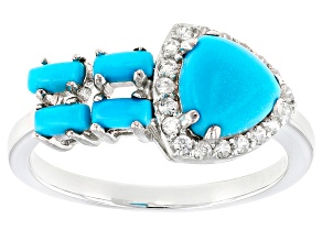 Blue Sleeping Beauty Turquoise Silver Ring .26ctw