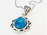 Blue Turquoise Silver Pendant With Chain