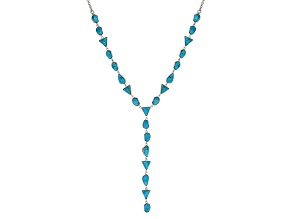 Blue Turquoise Sterling Silver Y Necklace