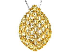 Yellow Citrine Sterling Silver Pendant With Chain 8.24ctw