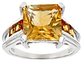 Golden Citrine Sterling Silver Ring 4.85ctw