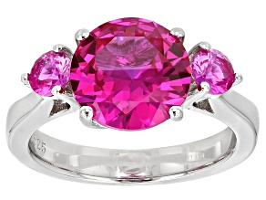 Pink Sapphire Sterling Silver 3-Stone Ring 4.36ctw