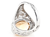 Brown Champagne Quartz Sterling Silver Ring 4.48ct