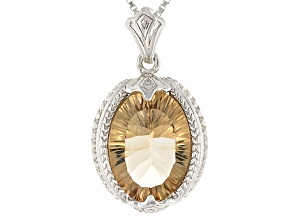 Brown Champagne Quartz Sterling Silver Pendant With Chain 4.48ct
