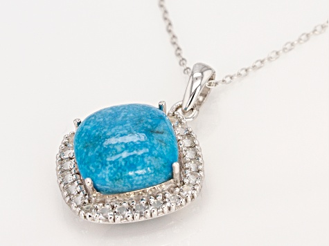 Blue Turquoise Silver Pendant With Chain .98ctw