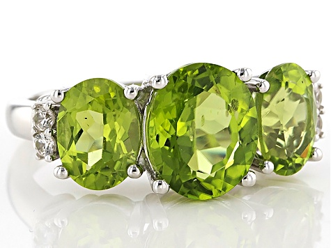 Green Peridot Sterling Silver Ring 4.71ctw