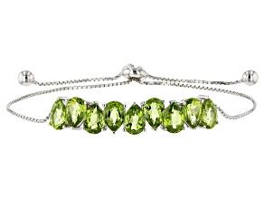 Green Peridot Sterling Silver Bolo Bracelet 5.43ctw